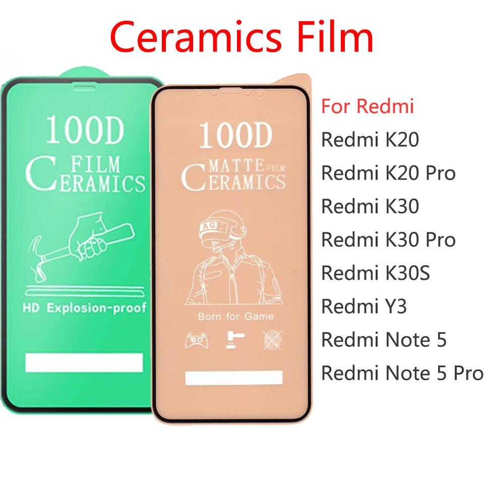 50 قطعة \ مجموعة 100D غطاء كامل لينة السيراميك الزجاج المقسى ل شاومي Redmi K20 K30 نوت 5 برو K30S Y3 حامي الشاشة فيلم