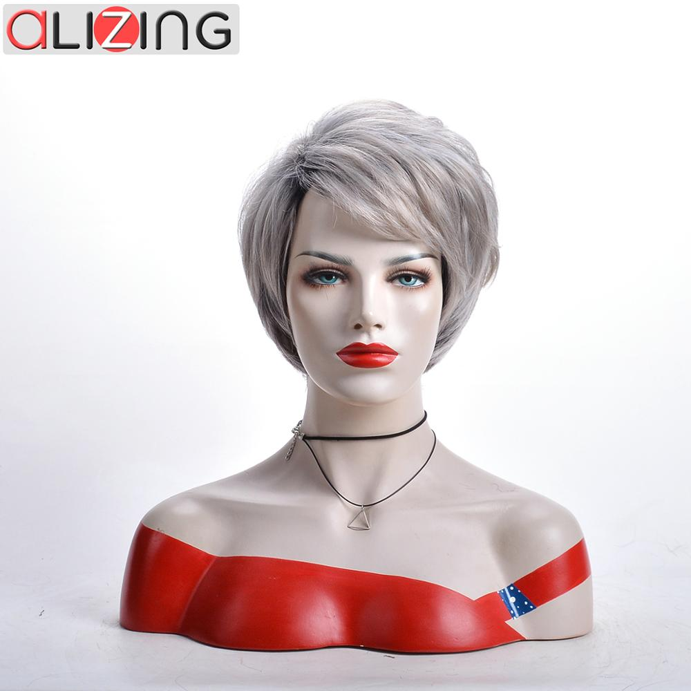 Alizing  Synthetic Hair Cosplay Short Heat Resistant Natural Gray Wigs with Bangs for African American Women