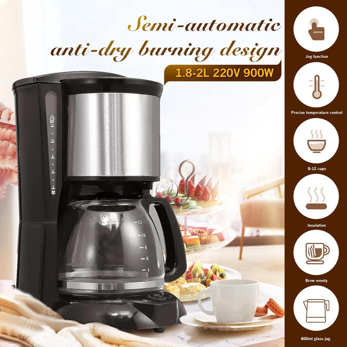2L 8-12 كوب ماكينة القهوة 220 فولت اسبريسو بالتنقيط صانع القهوة مع غلاية زجاجية مرشح مسحوق القهوة مكافحة بالتنقيط العزل إبريق الشاي