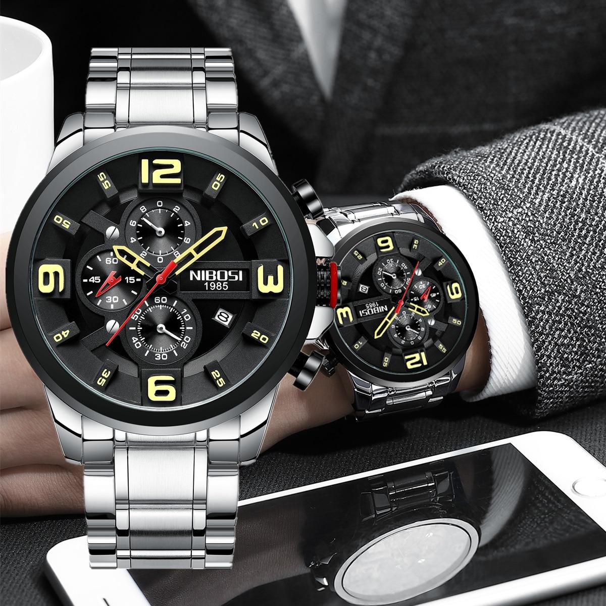 NIBOSI موضة ساعات رجالي أفضل العلامة التجارية الفاخرة الطلب الكبير الرياضة ساعة كامل الصلب مقاوم للماء الأعمال ساعة رقمية Relogio Masculino