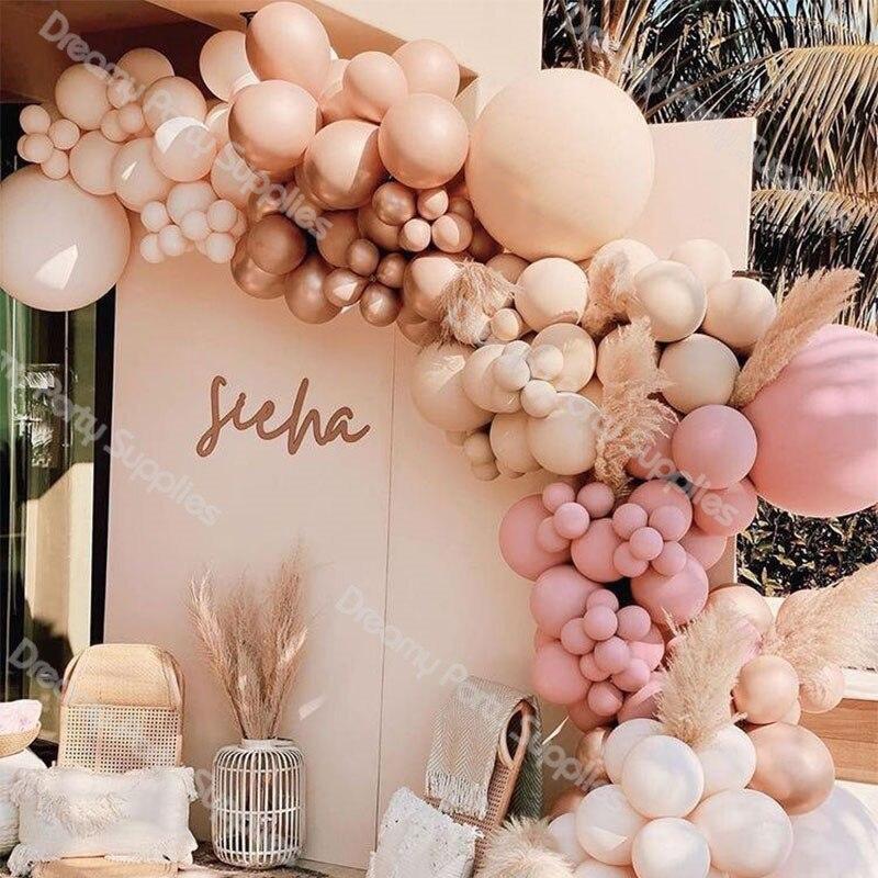 DIY Doubled Cream Peach Apricot Balloons Garland Retro Pink Ballon Kit Rose Gold Globos Wedding Birthday Baby Shower Party Decor