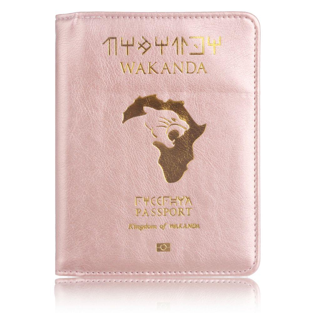 Fassory RFID bloqueo Wakanda Forever Black Panther Marvel los Vengadores cuero pasaporte de viaje cubierta titular bolsa Orgonizer