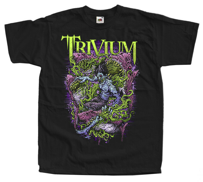 Trivium V2 pesada banda de metal Groove metal cartel camiseta (negro) S-5XL