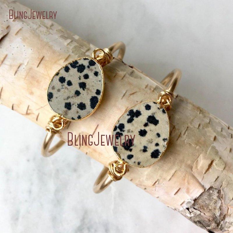 BM11257 Dalmatian Jaspers Bar Cuff Stone Bracelet Bangle Raw Brass Adjustable Cuff  Bracelet Minimalist Gold Bracelet Boho