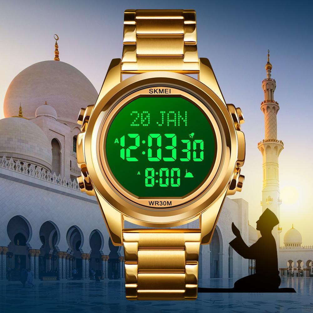 SKMEI Muslim Watch Qibla Time Reminder Nmane Display Qibla Compass Relibious Month/Day Wristwatch for Islamic Kids Ramadan Gift