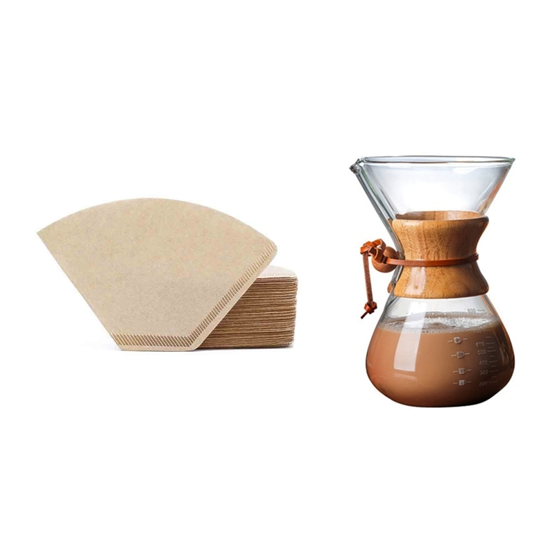 1 مجموعة 800 مللي صب أكثر من صانع القهوة و 200 قطعة مرشحات القهوة مخروط ، ورقة البني الطبيعي غير المبيض