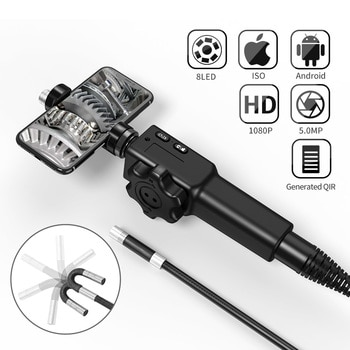 5.5MM/8.5MM 5.0MP 180 Degree Steering Industrial Borescope Endoscope Cars Inspection Camera With 6 LED for iPhone Android