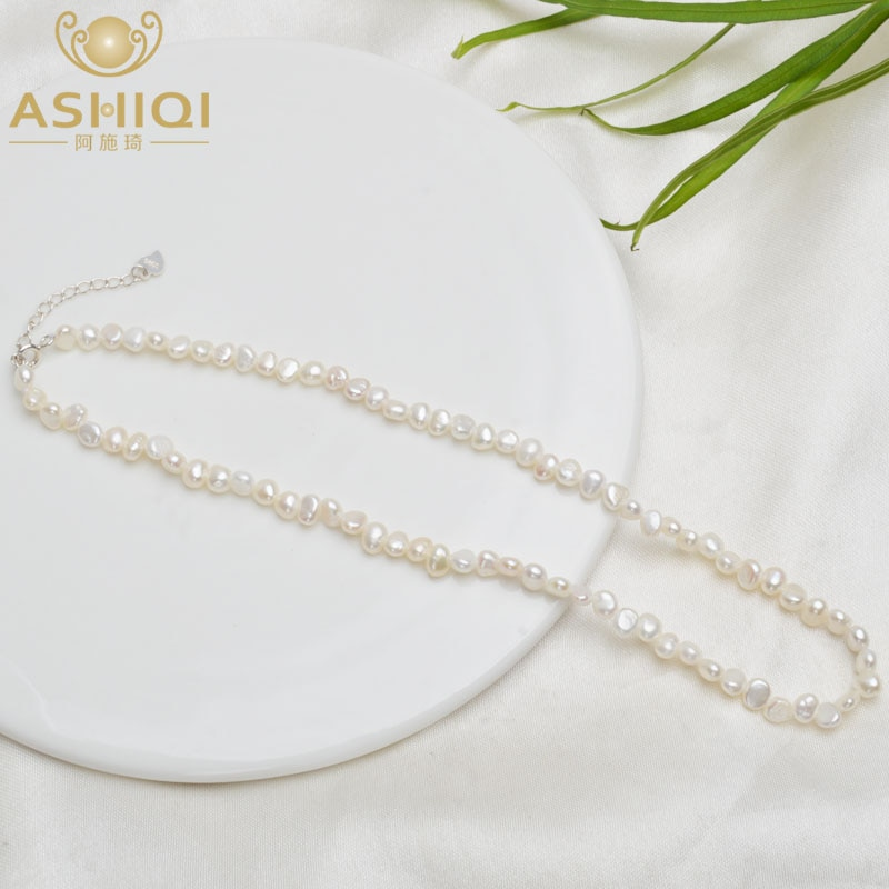 ASHIQI Natural Freshwater Pearl Choker Necklace Baroque pearl Jewelry for Women wedding 925 Silver C