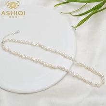ASHIQI-gargantilla de perlas naturales de agua dulce para mujer, collar de perlas barrocas, joyería para boda, cierre de plata 925, venta al por mayor, tendencia 2021