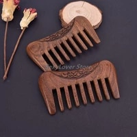 natural gold sandalwood super wide tooth wood double side engraved hair combs