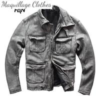 2021 vintage mens genuine leather motorcycle jacket plus size 4xl gray cowhide biker coat for male