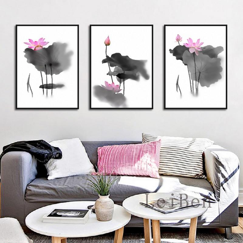 Chinês pintura a tinta estilo minimalista blooming preto folhas de lótus e rosa lótus para sala estar quarto estudo decoração