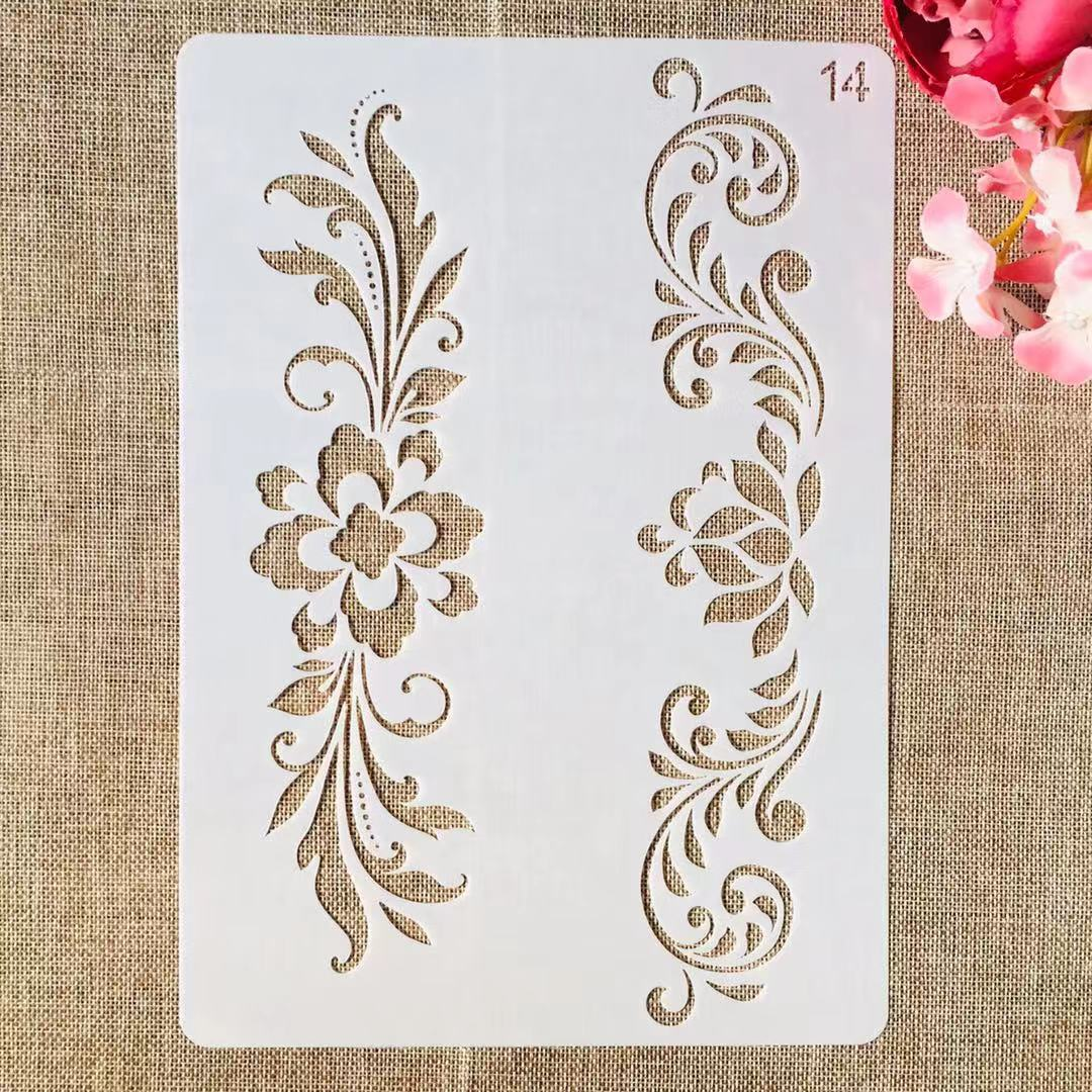 1Pcs A4 29cm Flower Leaves Edge DIY Layering Stencils Painting Scrapbook Coloring Embossing Album Decorative Template