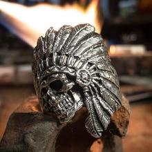 EYHIMD Vintage American Native Skull Ring Mens Tribe Warrior Stainless Steel Biker Rings Indian Jewelry