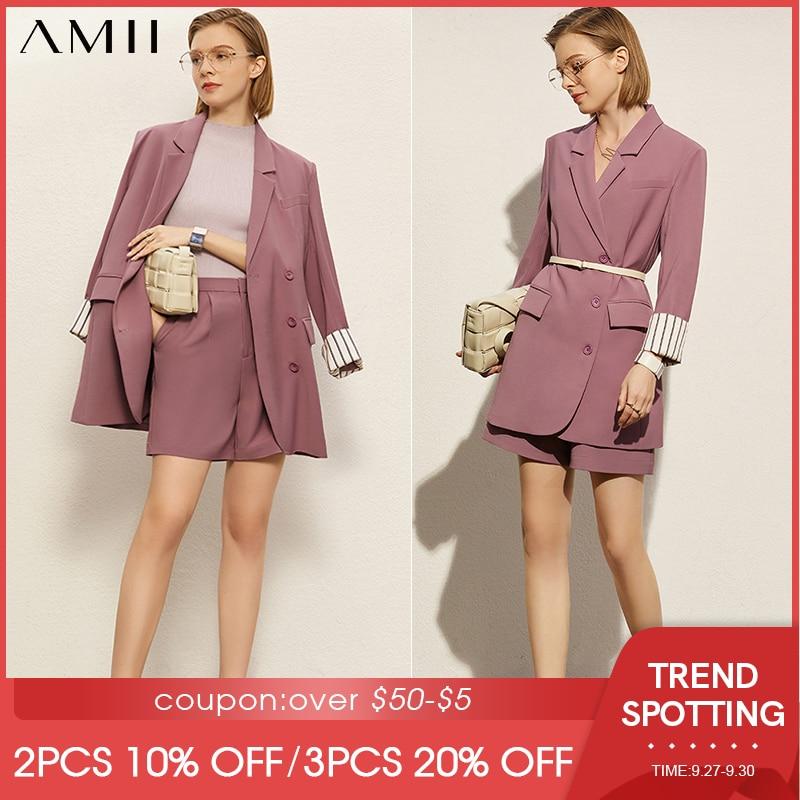 Amii-طقم بدلة بسيط لربيع وصيف للنساء ، معطف نسائي عادي مرقع ، شورت غير رسمي ، مجموعة 12170071
