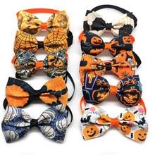 30/50/pcs Halloween Dog Bowties Accessories Pumpkin Ghost Pet Cat Dog Bowtie Ties Puppy Dog Bowtie C
