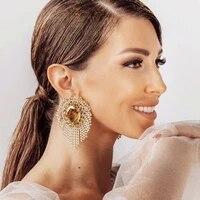 2021 fashion new exaggerated rhinestone tassel tassel earrings womens evening dress temperament claw chain earrings