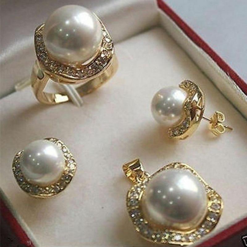 Fys004 multi-color escolhas branco verde aaaa cz branco concha do mar do sul pérola anel pingente brinco conjunto de jóias