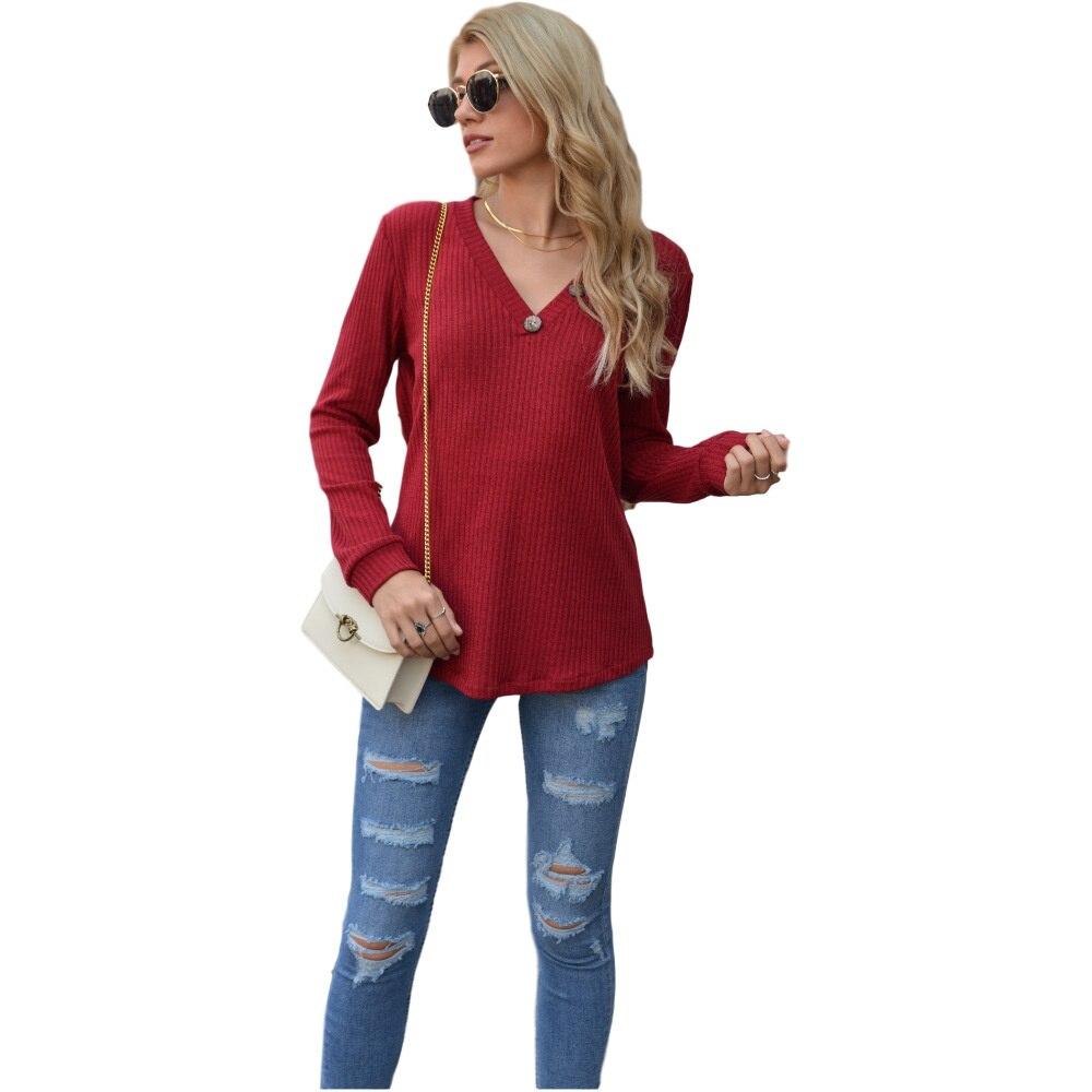Женские осенние и зимние новые футболки, однотонные вязаные пуговицы, простые топы, футболки, Универсальная Мода Wm *