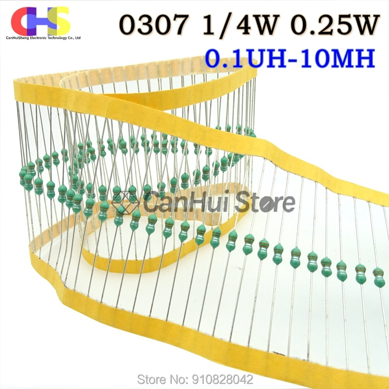 PCS 0307 1 50/4W Anel grosso Cor 0.25W Indutância Indutores DIP 0.1UH ~ 1MH 2.2 3.3 4.7 5.6 15 18 27 39 56 68 82 100 mH 220 330 470 uH