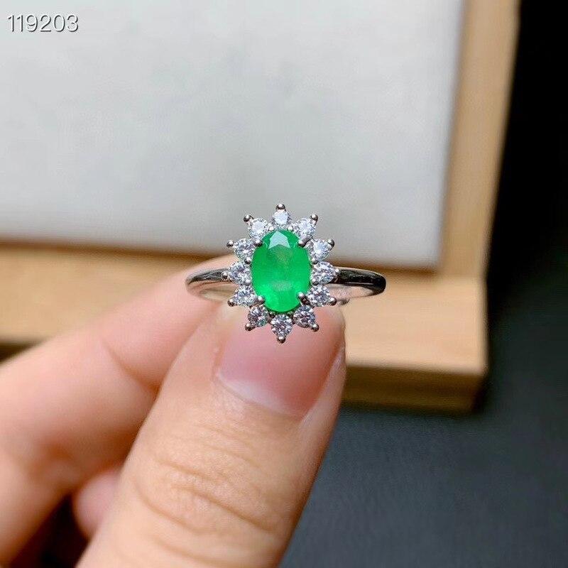 خاتم الزمرد الطبيعي ، خاتم فضة أصلي 925 ، خاتم الخطوبة للسيدات ، خاتم بسيط