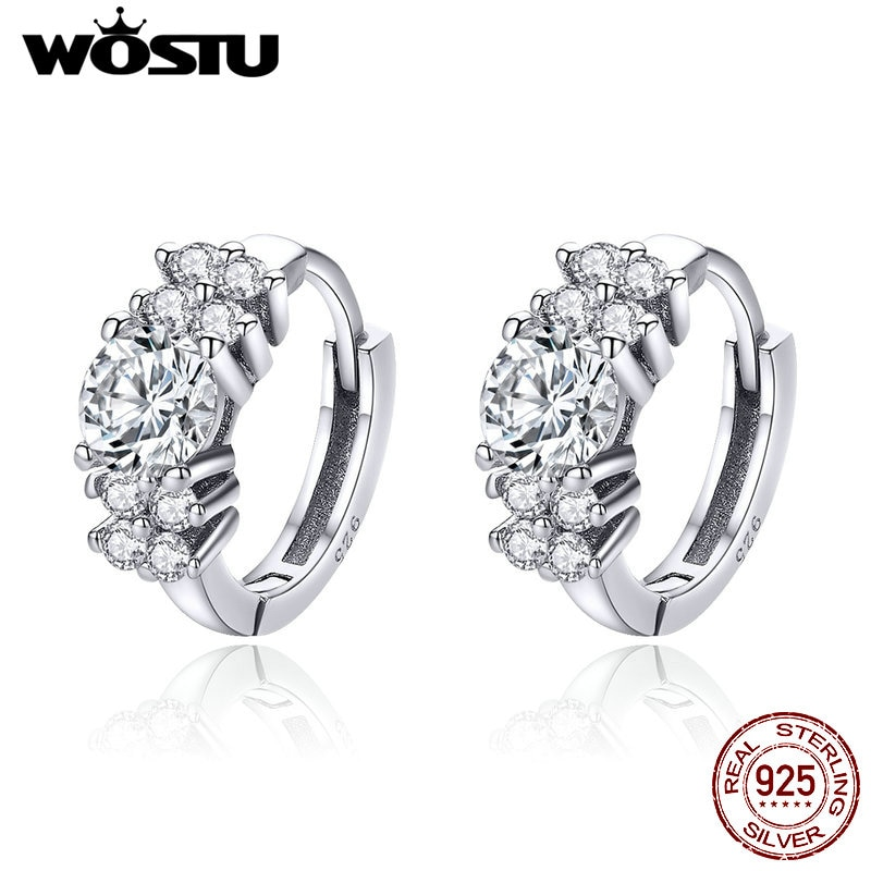 Wastu, pendientes de aro de Plata de Ley 925 con pétalos exquisitos, pendientes pequeños de oro rosa para mujer, joyería de boda BKE485