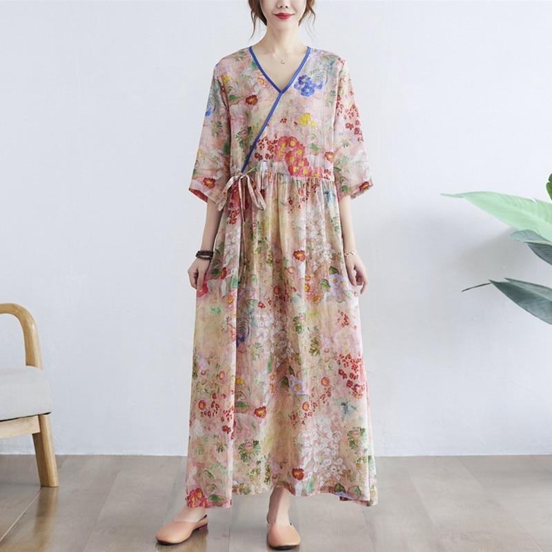 المرأة الصيف القطن الكتان فستان طويل جديد 2021 خمر نمط الخامس الرقبة طباعة فضفاضة مريحة السيدات أنيقة ماكسي فساتين B759