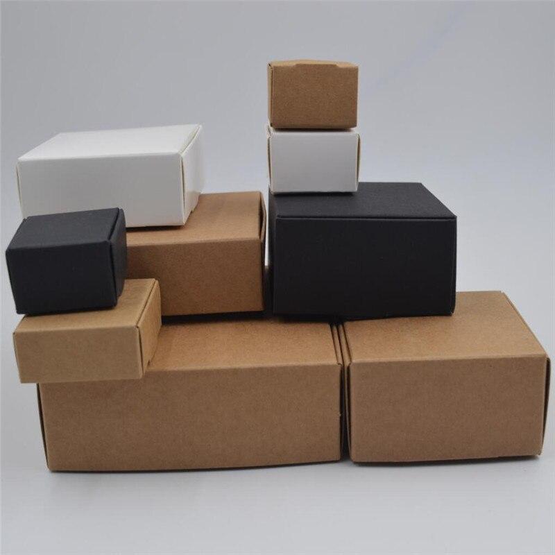 DIY קראפט אריזת מתנה לבן/חום/שחור נייר קטן סבון תיבת קראפט קרטון מיני תכשיטי אריזה קרטון תיבת 12 גדלים