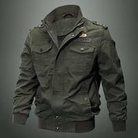 Куртка мужская из чистого хлопка, повседневная Рабочая куртка в стиле милитари со множеством карманов, большие размеры, свободная хлопкова...