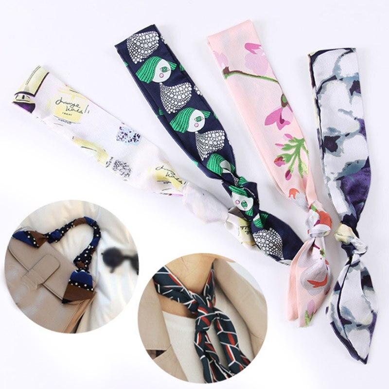 Halstuch Schals Seide Fühlen 1pc 2020 Lange Satin Kleine Schal Twilly Haar Krawatte Band Haarband Frauen Tasche Griff Dekoration