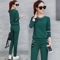 womens sports suit 2021 spring and autumn korean style slim long sleeved t shirt round neck casual two piece suit