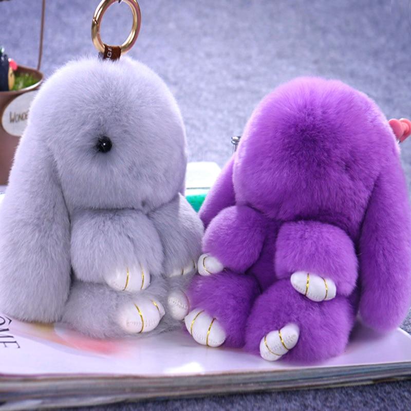 14/18cm Super Cute Children Kids Fluffy Bunny Shape Artificial Rabbit Fur Soft Toys Popular Kids Adults Phone Car Gifts KeyChain