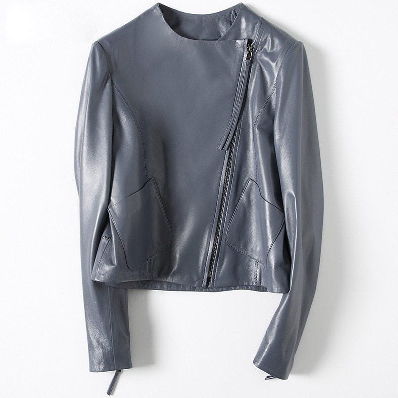 تصميم Harajuku جديد حقيقي جاكيتات النساء س الرقبة سستة دراجة نارية الجلد الحقيقي معاطف السترة جيوب كبيرة أنيقة قصيرة