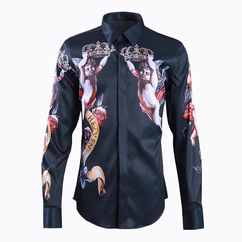 Camisa azul clásico para hombre, Camisas de algodón de manga larga a la moda 2019 para hombre, Camisas de talla grande estampadas de alta calidad de negocios para hombre
