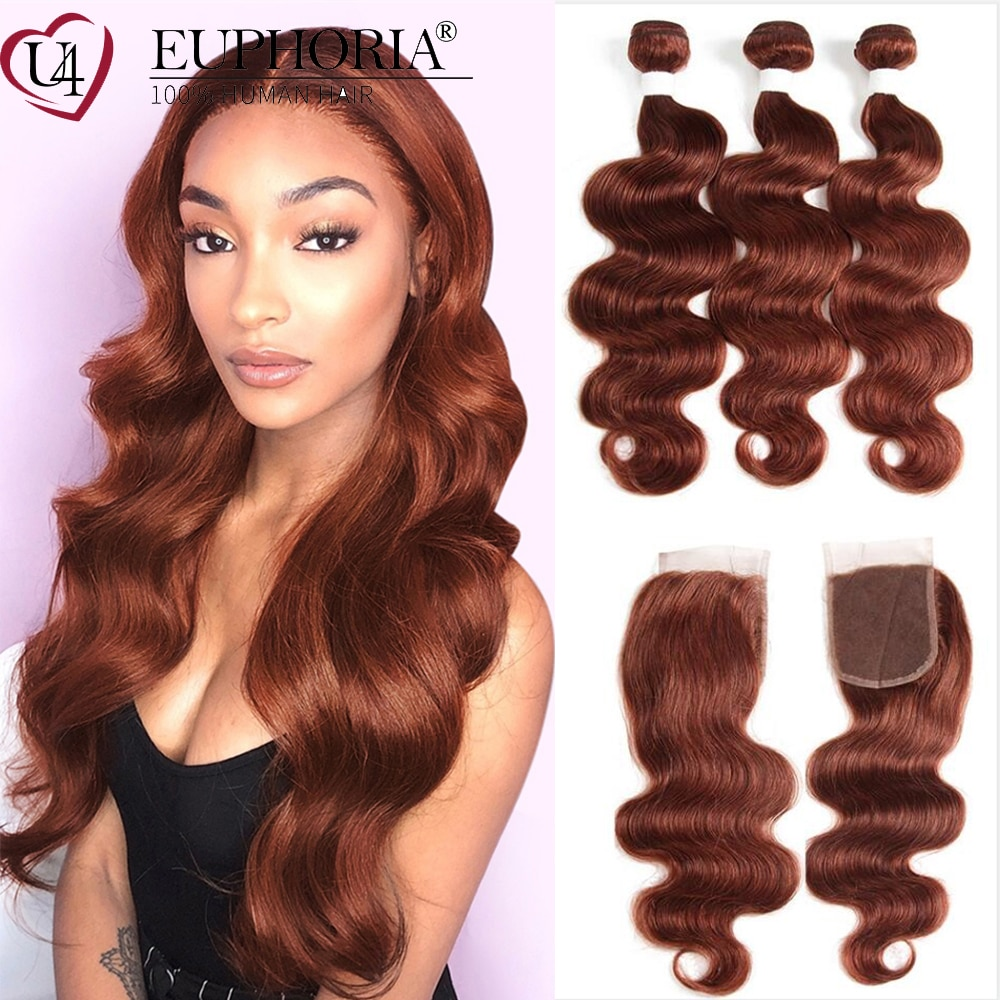 Brown 33 Hair Bundles With Closure Body Wave Brazilian Remy Human Hair 3 Bundles With 4x4 Lace Closure Burg Red Color Euphoria