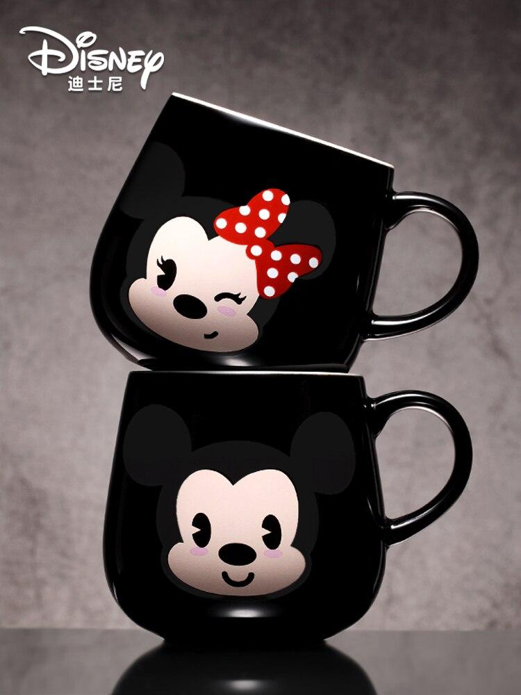Original Disney  Large Capacity Cartoon Mug With Lid Spoon Ceramic Mug Mickey Minnie Water Cup Creative Cute