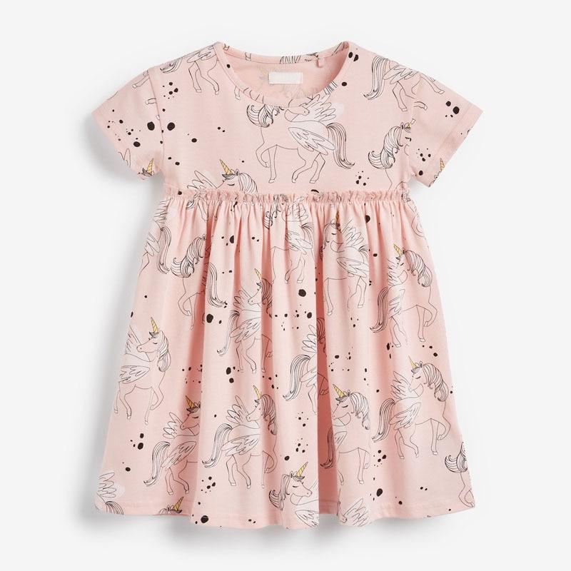 Little Maven New Summer Kids Pink Pegasus Horse Printed O-neck Girls 2-7yrs Short-sleeved Cotton HighWaist Knitted Sweet Dresses