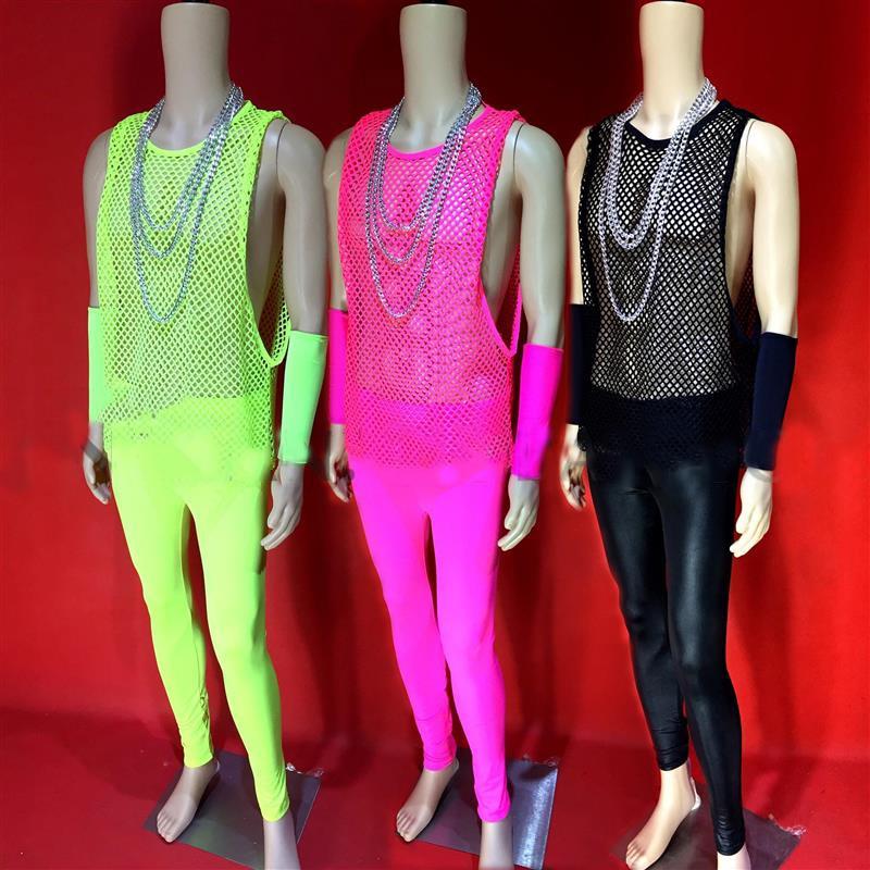 الفلورسنت اللون الجوف البدلة صافي قميص الصدرية مجموعة مثير مرحلة الأداء ملابس رقص ملهى ليلي بار مهرجان الهذيان الزي XS2586