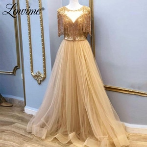 Beading Tassel Champagne Formal Dress Middle East Evening Gown 2020 Turkish Moroccan Kaftan Saudi Arabia Prom Party Dresses 2020