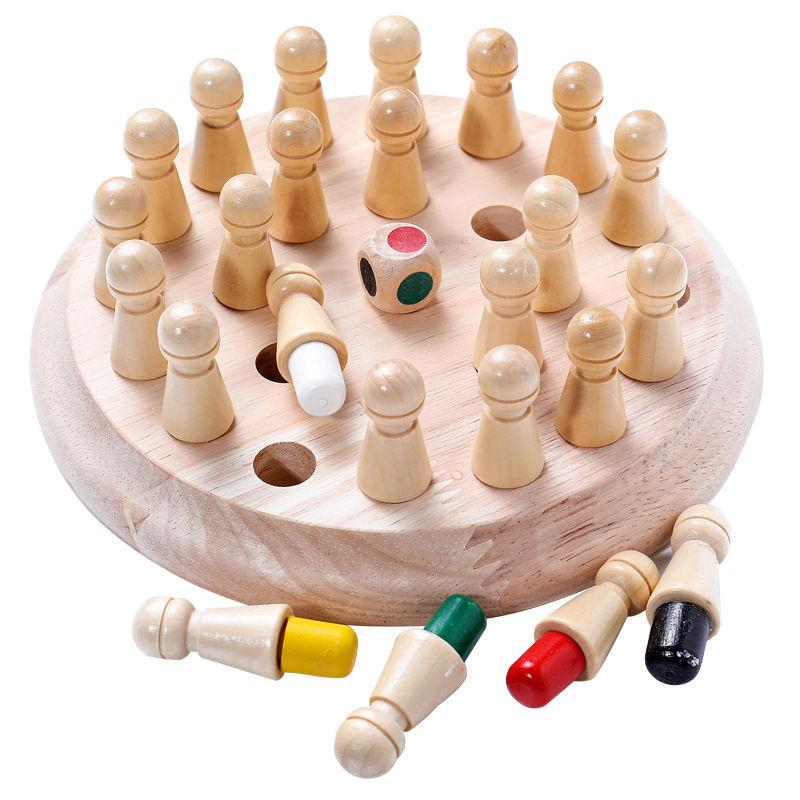 Enfants en bois mémoire bâton jeu déchecs Puzzle conseil famille jeu éducatif couleur capacité Cognitive jouet pour les enfants
