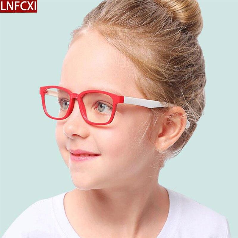 Lnfcxi 2020 nova moda sílica gel crianças anti-azul óculos childen menino eywear menina óculos de silicone do bebê macio quadro