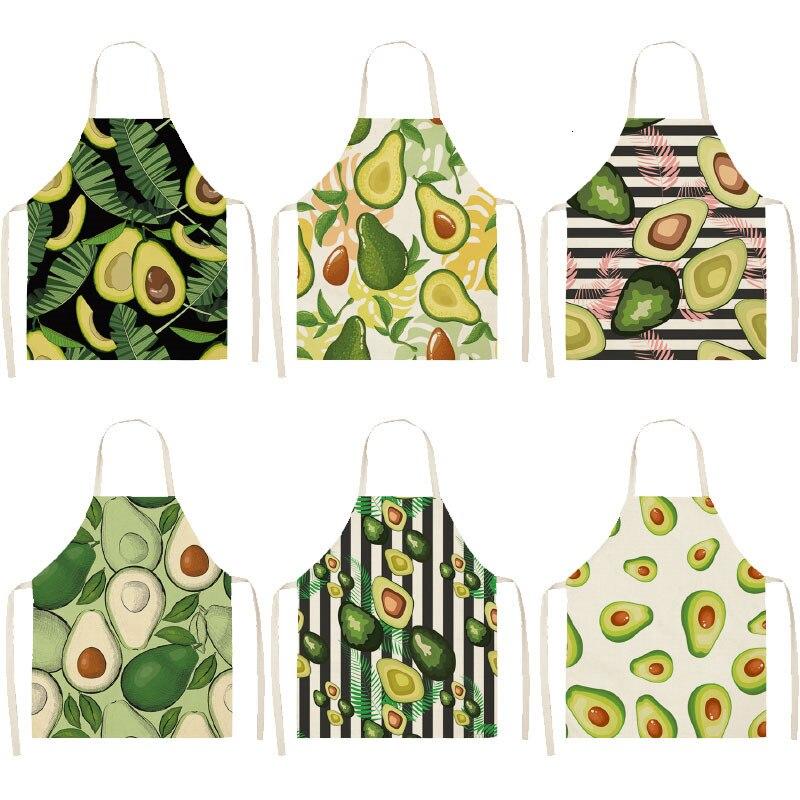 1 Pza delantal de lino de algodón de aguacate estampado de cocina para mujer babero de cintura para Cocinar en casa Pinafore sin mangas 53*65cm WQL0145