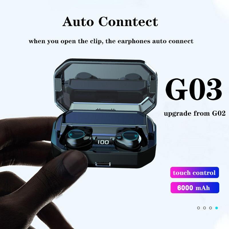 Auriculares TWS G03 inalámbricos por Bluetooth 5,0, cascos deportivos con caja de...