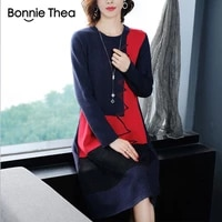 bonnie thea new autumn and winter round neck loose large size knitted dress womens mid length over knee knit sweater skirt