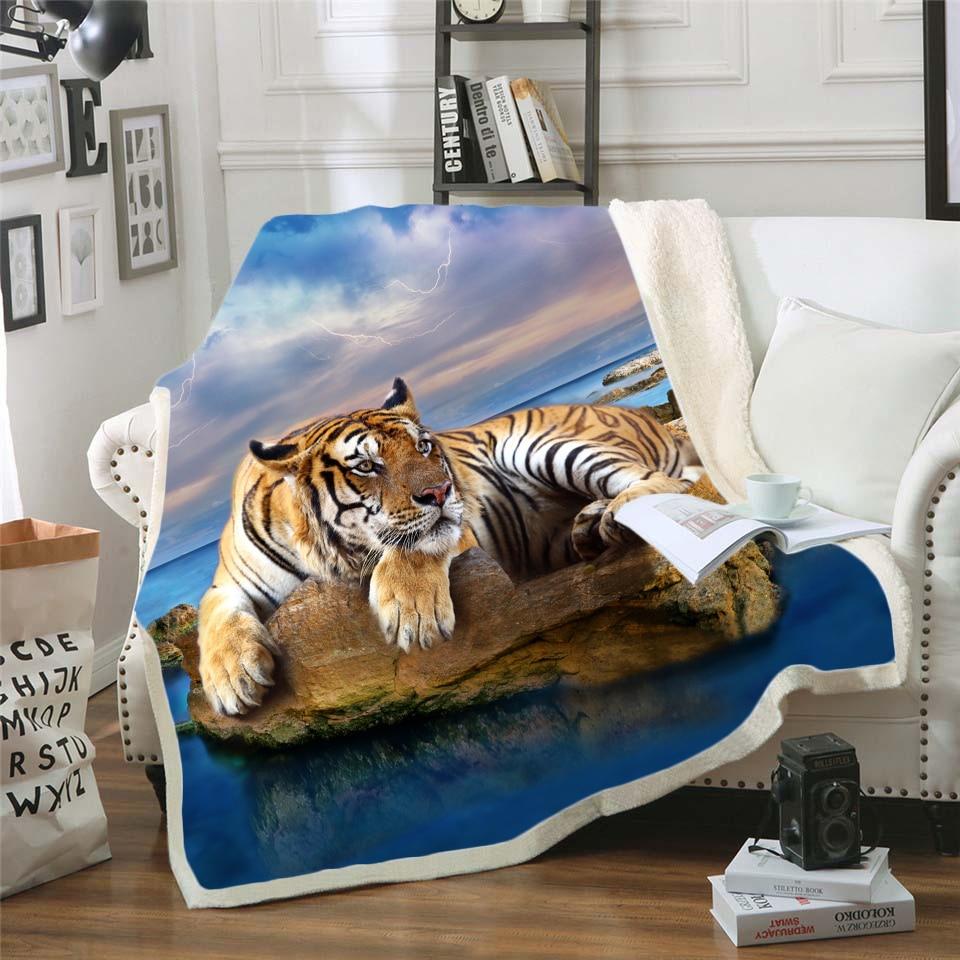 Tigre/León 3D ropa de cama Outlet de buena calidad manta de Sherpa manta de terciopelo de felpa sábana cálida de dibujos animados manta para siesta Oficina estilo-001