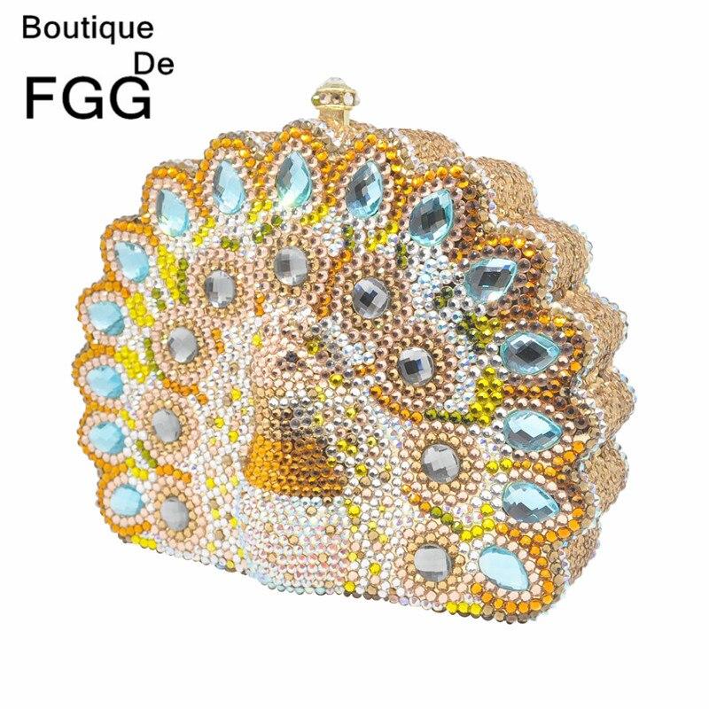 Boutique De FGG-حقيبة يد نسائية من الكريستال على شكل طاووس ، حقيبة سهرة ، حقيبة زفاف