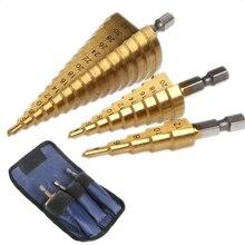3pc brocas Hss Etape cône jeu de forets Trou Cutter Metrique 4-12/20/32mm titane métal laque Hex intensifie meches perceuse électrique