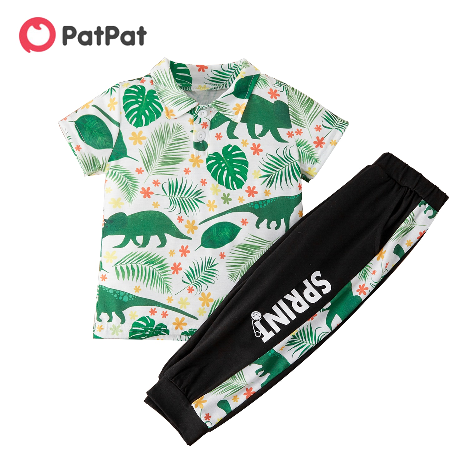 PatPat 2021 New Arrival  Summer 2-piece Baby/Toddler Dinosaur Leaf Top and Casual Trousers Set for Toddler Clothing Sets