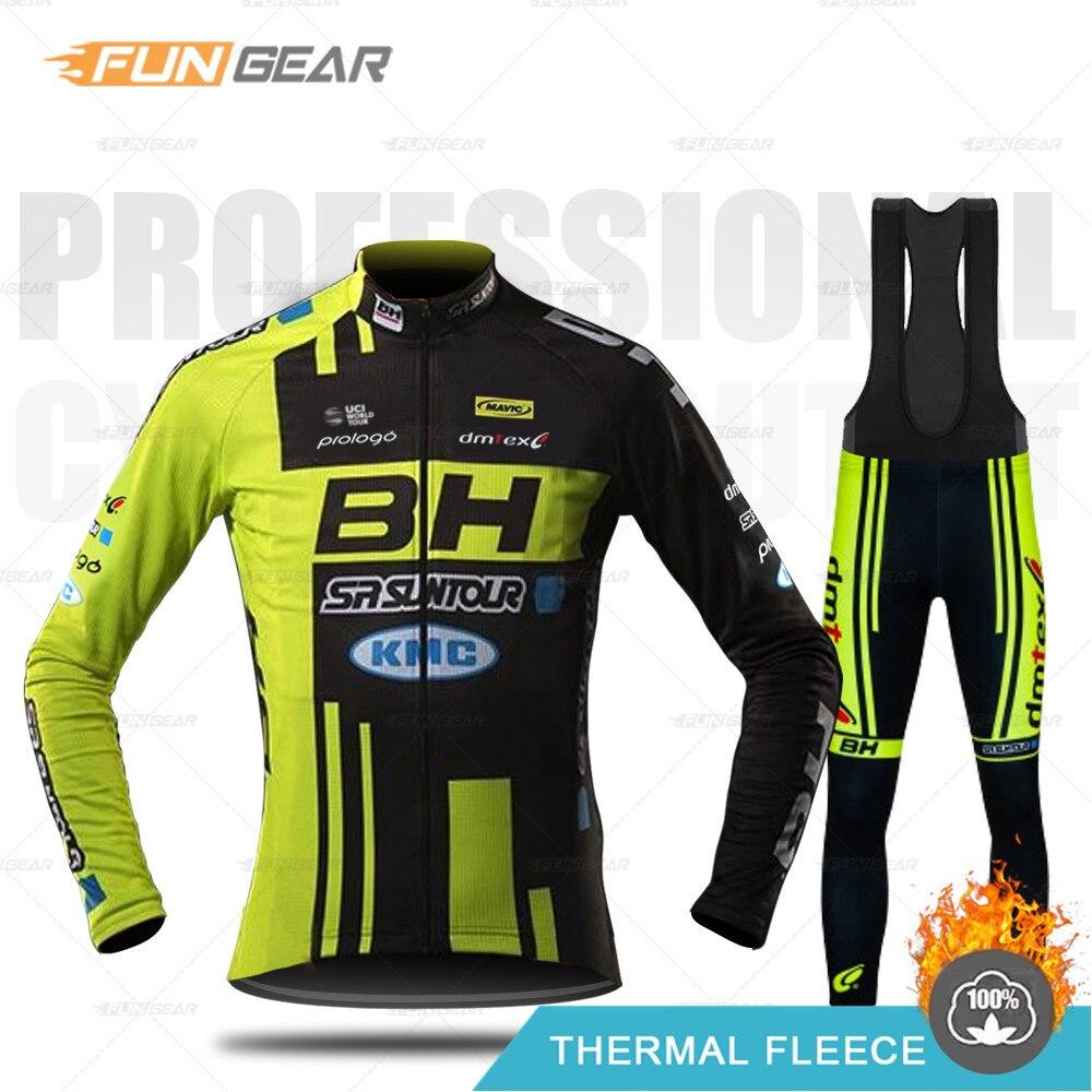 Ropa de ciclismo BH para hombre, conjunto de Jersey de manga larga para equipo profesional, chaqueta de invierno, uniforme de carrera de bicicleta de carretera térmica, ropa de lana Mtb 2020