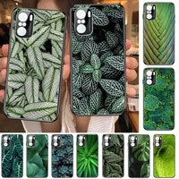 tropical green plant leaves phone case for xiaomi redmi poco f1 f2 f3 x3 pro m3 9c 10t lite nfc black cover silicone back prett